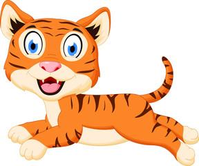 Cute tiger cartoon jumping