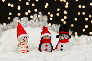 Snowmen in the Christmas night