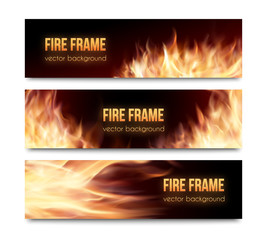 Vector banners set with realistic fire flames