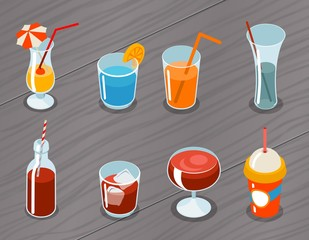 Isometric vector 3d drinks icons