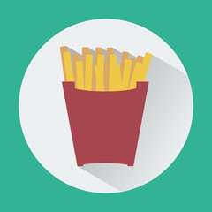 French Fries Box round icon