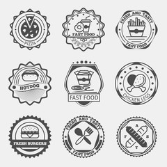 Fast food emblems, logo or labels vector set
