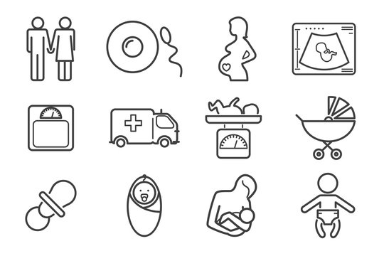 Medicine and pregnancy vector line icons set