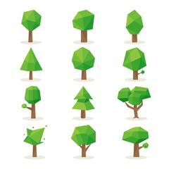 Wall Mural - Polygonal trees