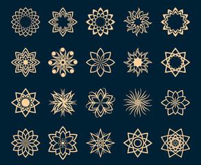 Wall Mural - Abstract lotus geometric symbols