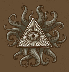 Vector image of Masonic symbol as a triangle with an eye painted in the center with rays emanating from it and with tentacles around triangle on a brown background.