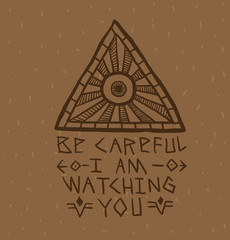 Vector image of Masonic symbol as a triangle with a round eye painted in the center with rays emanating from it and the text below on a light brown background.