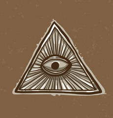 Vector Masonic symbol, eye in the center. Image of Masonic symbol as a triangle with an eye painted in the center with rays emanating from it on a light brown background.