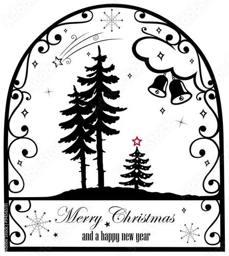 scherenschnitt style weihnachtsbaum mit glocken und. Black Bedroom Furniture Sets. Home Design Ideas