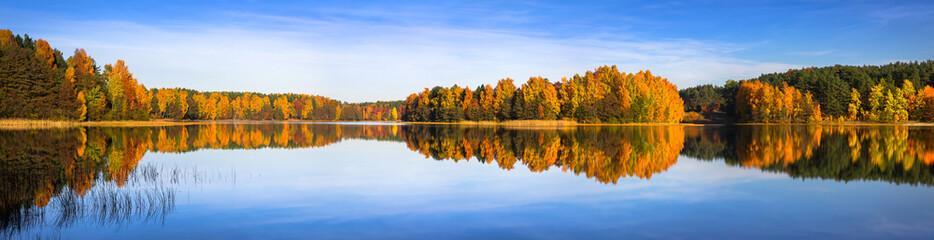 Panorama of autumnal lake in Poland
