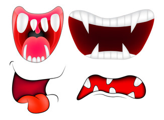 Cartoon smile, mouth, lips with teeth set. vector mesh illustration isolated on white background