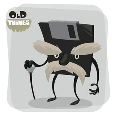 Vector old things, diskette. Cartoon image of things the old generation, diskette black color with a white mustache and with black cane on a light gray background.