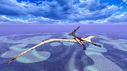 Huge pterodactyl over land