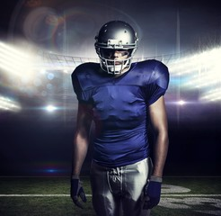 Composite image of american football player standing