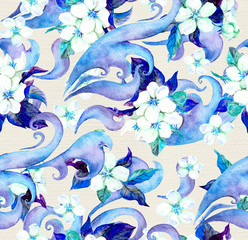 Flowers and decorative ornament. Watercolour seamless pattern