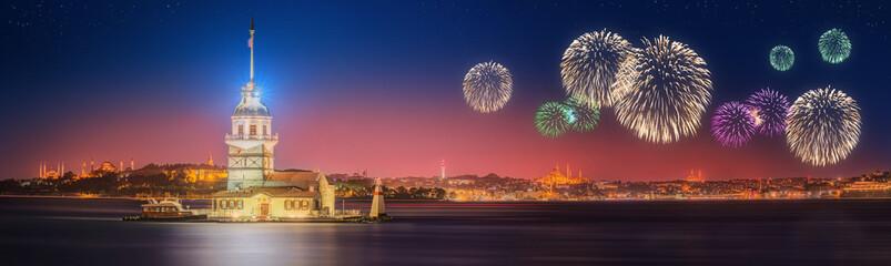 Beautiful fireworks near Maiden Tower, Kiz Kulesi Istanbul