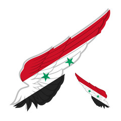 Flag of Syria on Abstract wing and white background. Vector