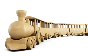 Toy wooden train. 3d.