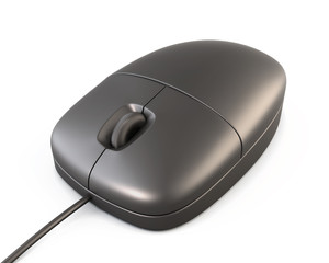 Simple black computer mouse closeup on white background. 3d.