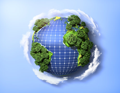 Concept of green solar energy. Green planet earth with trees and
