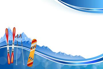 Background abstract blue ski snowboard red orange winter sport frame illustration vector