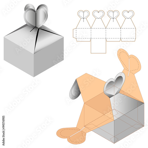 Gift Box Packaging Template White Cardboard Heart Shaped Opening Carry Bag Isolated On