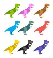 Set of colorful dinosaurs. Tyrannosaurus Rex. Cute animals prehi