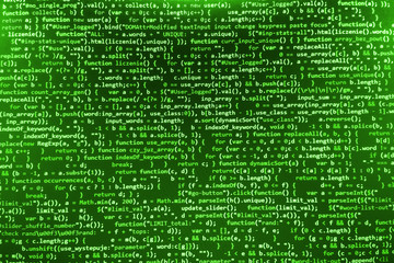 Software developer programming code. Abstract modern virtual computer script. Work of software developer programmer on desktop screen closeup. Online Internet cyberspace reality concept background