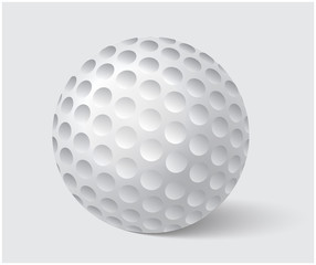 Golfball realistic vector. Image of single golf equipment, ball illustration isolated on grey background.