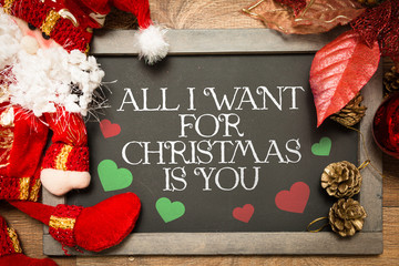 Blackboard with the text: All I Want For Christmas is You in a conceptual image