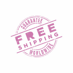 Vector Free Shipping Worldwide Guarantee stamp