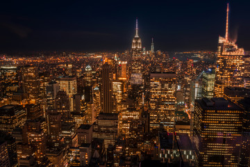 Lower Manhattan at night seen from a high place