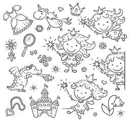 Fototapete - Little cartoon fairy set with a castle, unicorn, dragon and accessories