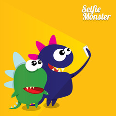 Monster Taking Selfie Photo on Smart Phone