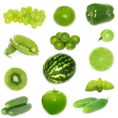 set of green fruiys and vegetables