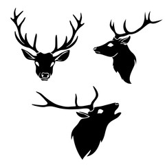 Set of graphic design deer head silhouette with horns black on white background