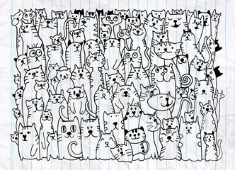 Hand drawing doodle dogs group