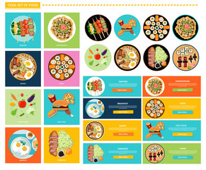 Set of Different Tasty Dishes Flat