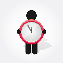 figure man holds Simple red clock