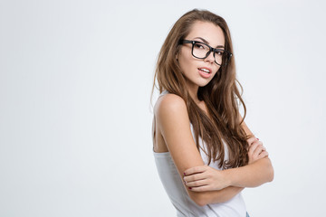 Casual woman in glasses looking at camera