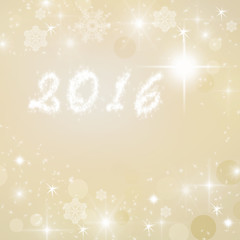 Year 2016 written on gold bright sparkly winter background. New Year card.