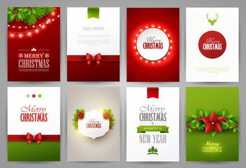 Set of christmas brochures templates. Bright vector backgrounds.