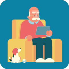 Cartoon old man sitting in armchair and using a tablet pc. The dog is looking at him.
