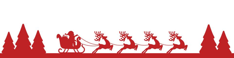 santa sleigh reindeer red landscape silhouette