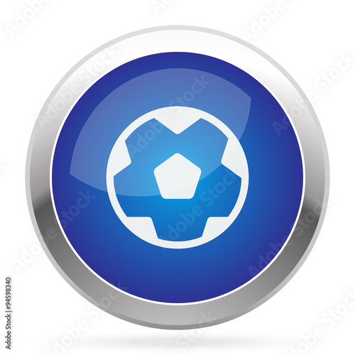 """White Soccer Ball icon on blue web app button"" Stock ..."