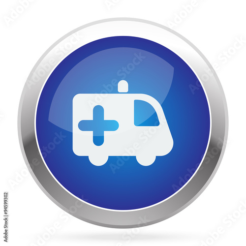 """White Ambulance icon on blue web app button"" Stock image ..."