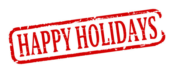 Scratched red oval stamp with the words - happy holidays - vector svg