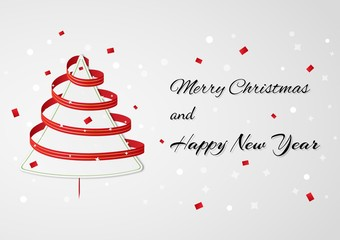 christmas card wth ribbon tree