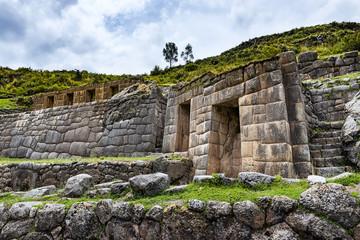Ancient Inca wall in the Tambomachay ruins, near Cuzco, Peru