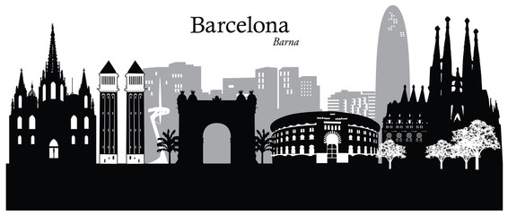 Vector illustration of cityscape of Barcelona, Spain